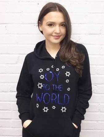 "Sequin ""Oy to the World"" Women's Hoodie Sweatshirt"