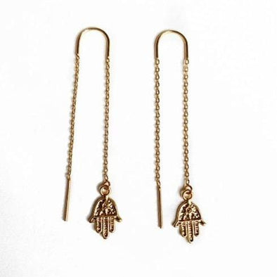 Tiny Hamsa Ear Threaders Earrings
