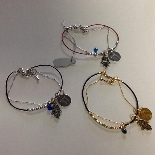 Jillery Bracelets Hamsa Bracelets with Chai and Gemstones