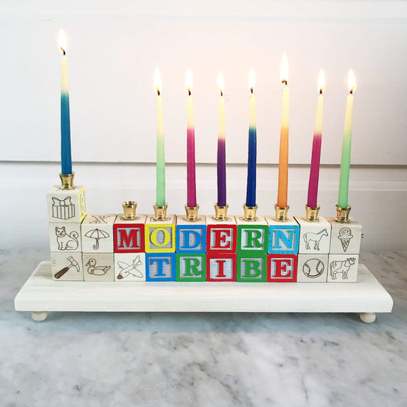 Naturally Wood Creations Menorah Two Lines / No Candles Wooden Block Name Menorah