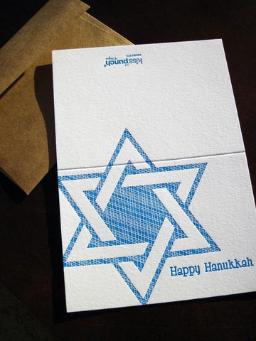 Letterpress Hanukkah Star Greeting Card by Kiss and Punch Designs - ModernTribe