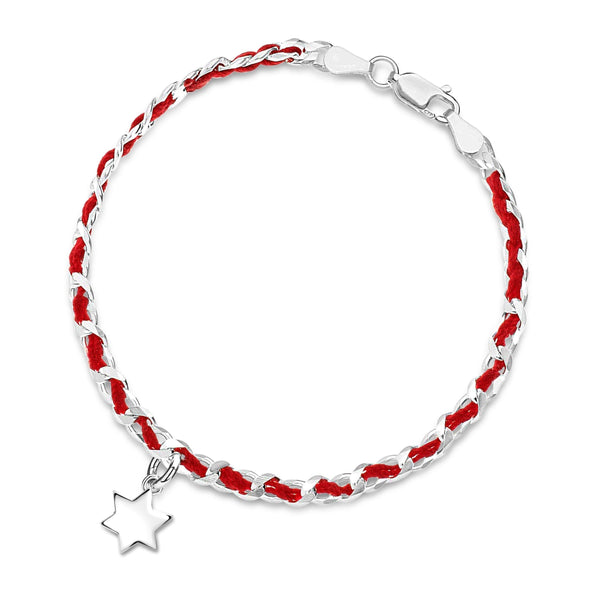 Alef Bet Bracelets Solid Star of David Red String Bendel Bracelet