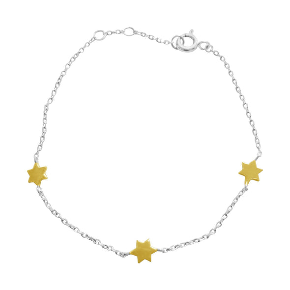 Star of David Silver or Two Tone Bracelet