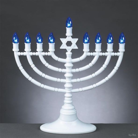 White and Blue Electric LED Menorah