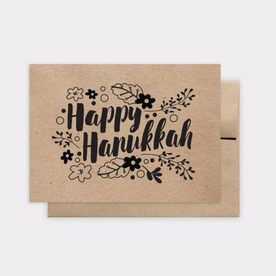 Floral Kraft Happy Hanukkah Greeting Card, Box of 6 - ModernTribe
