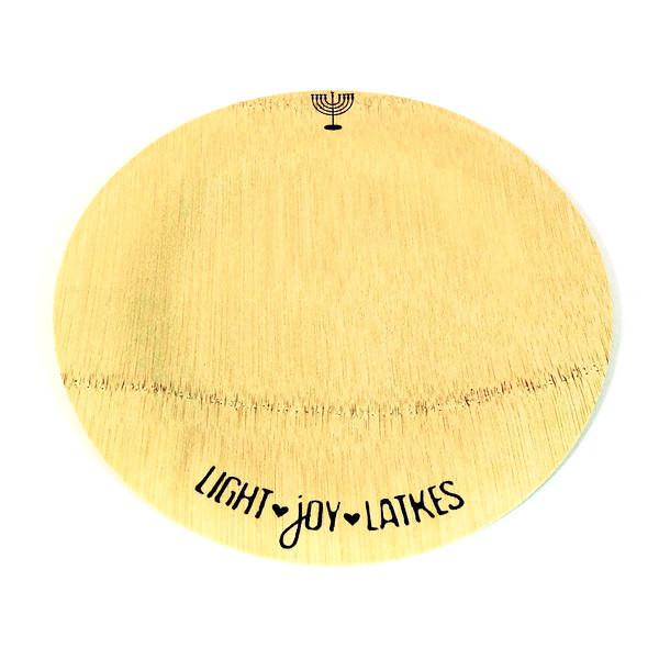 ModernTribe Plate 9 Inch Plates - Set of 10 ModernTribe's Light, Joy, Latkes Hanukkah Bamboo Plates