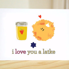 I Love You A Latke Greeting Card by Silly Reggie - ModernTribe - 1