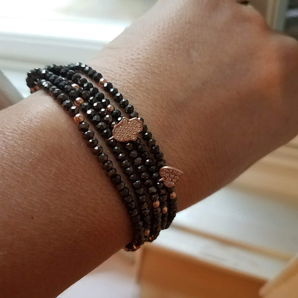 Black Macramé Beaded Hamsa Bracelet