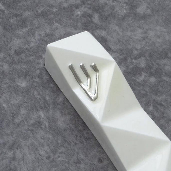 Modern Geometric Mezuzah - White and Silver