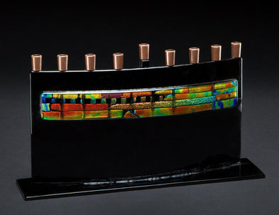 Black Arc Menorah with Dichro Trim by Daryl Cohen - ModernTribe