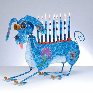 """Muttel the Dog"" Hand-Crafted Metal Menorah"