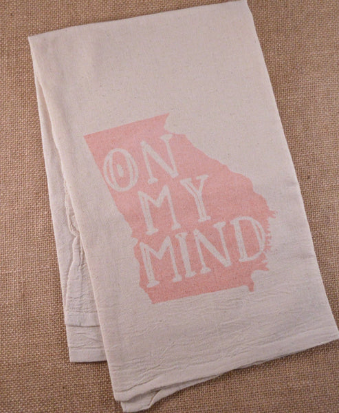 "French Silver Tea Towel Georgia ""On My Mind"" Flour Sack Tea Towel"