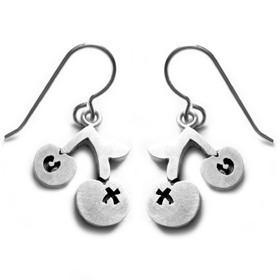 Emily Rosenfeld Earrings Cherry / Silver X O Cherry Earrings in Sterling Silver