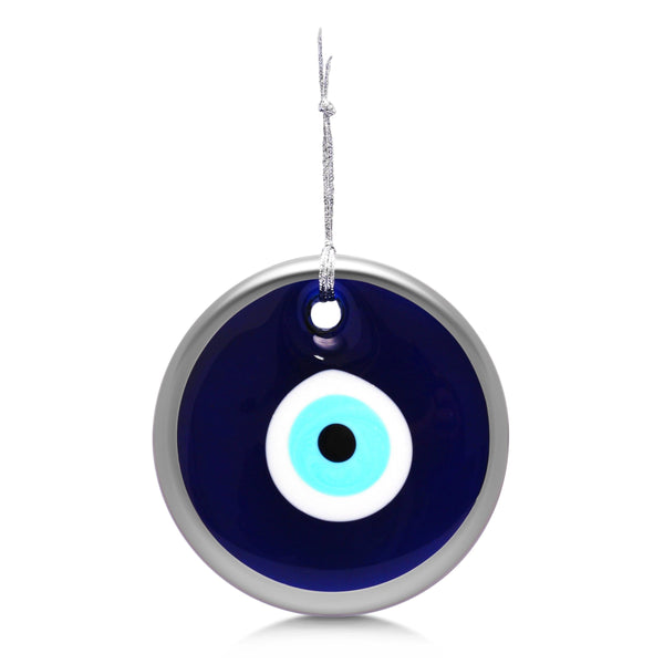 Alef Bet Hamsa Silver Evil Eye Glass Wall Hanging - Silver or Blue Border