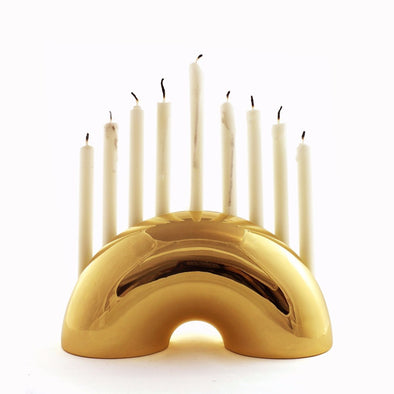 Nosh Menorah - Brass or Chrome