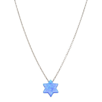 Opal Star of David Necklace - Blue