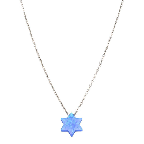 Alef Bet Necklaces Sterling Silver Opal Star of David Necklace - Blue