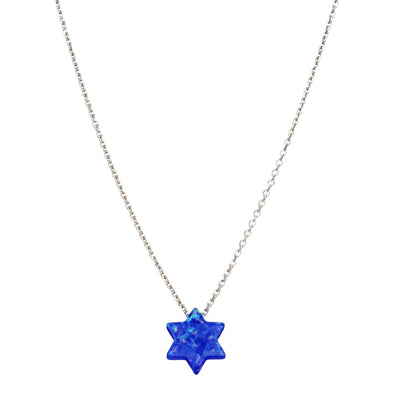 Opal Star of David Necklace - Navy