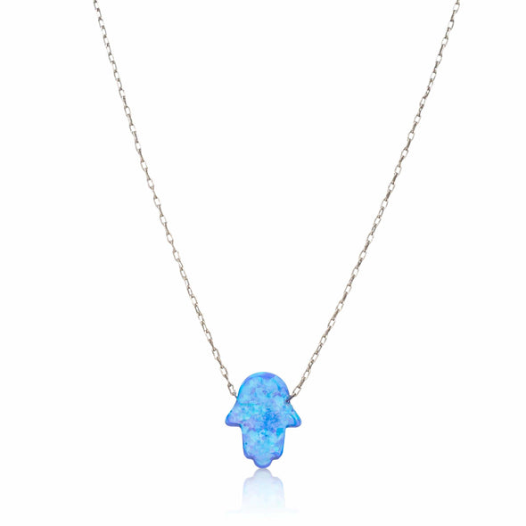 Alef Bet Necklaces Blue Opal Blue Opal Hamsa Necklace