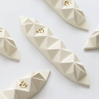 Origami Mezuzah - White and Gold