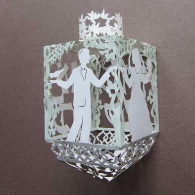 Hand Painted White Wedding Paper Dreidel by Melanie Dankowicz