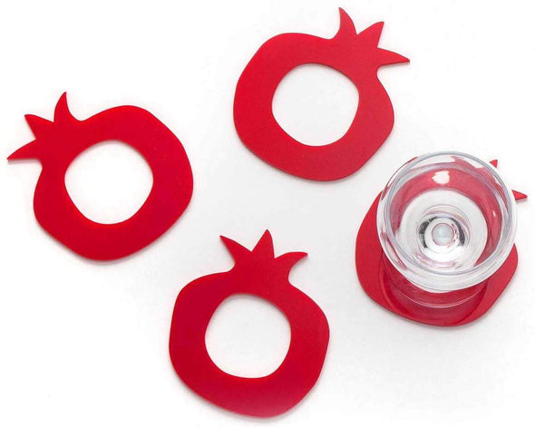Pomegranate Coasters & Napkin Rings - Set of 4