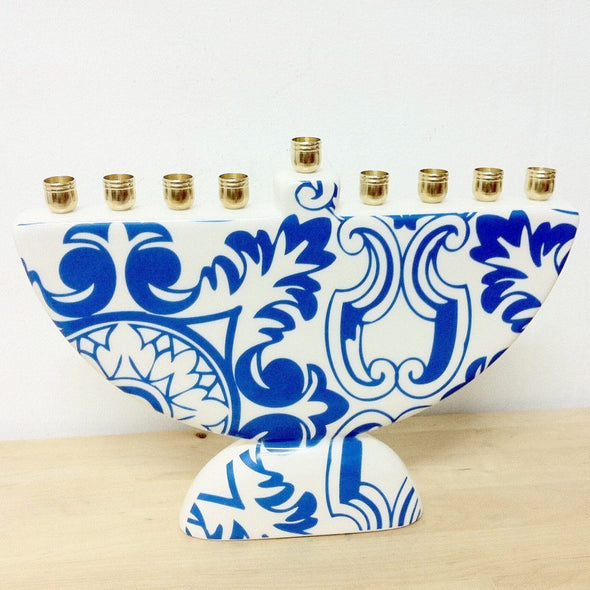 Damask Morrocan Blue Tile Menorah by Barbara Shaw