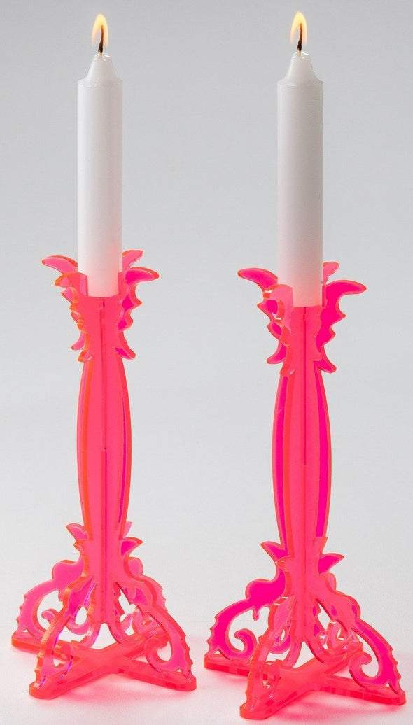 Pink Perspex Candlesticks