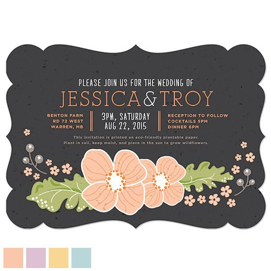 Other Invitations Ornate Floral Plantable & Personalized Wedding Invitations | Set of 50