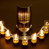 Oil Burning Reflective Menorah by Shahar Peleg - ModernTribe - 2