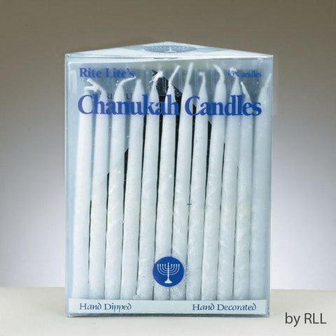 Premium Chanukah Candles Frosted White on White by Rite Lite - ModernTribe