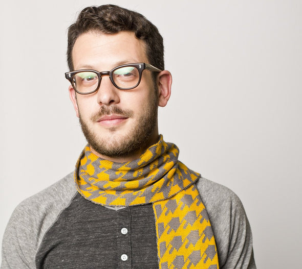 Dreideltooth Scarf in Mustard & Gray - ModernTribe