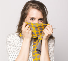 Dreideltooth Scarf in Mustard & Gray by Geltfiend - ModernTribe - 1