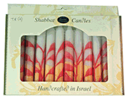 Safed Candles Default Shabbat Candles, Red & Orange on White | Set of 12