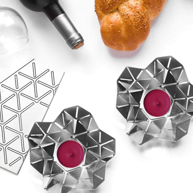Kano Shabbat Candlesticks Set by Studio Wallaby - Steel - ModernTribe