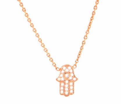 Sugar Bean Jewelry Necklaces Rose Gold Tiny Hamsa Necklace in Rose Gold