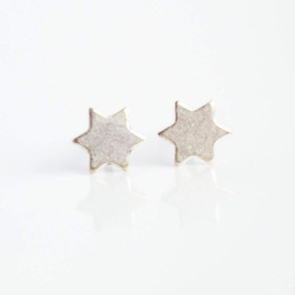 Silver Star of David Earrings