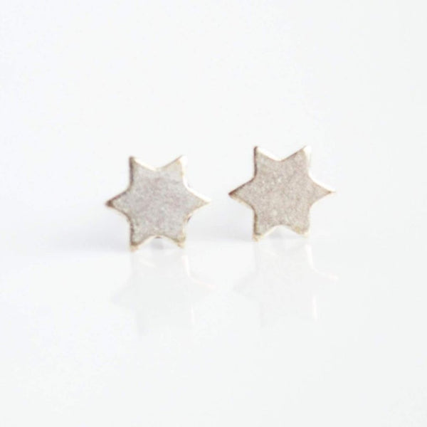 Grey Theory Mill Earrings Steel Silver Star of David Earrings