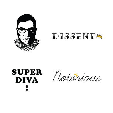 Ruth Bader Ginsburg RBG Supreme Ink Temporary Tattoos