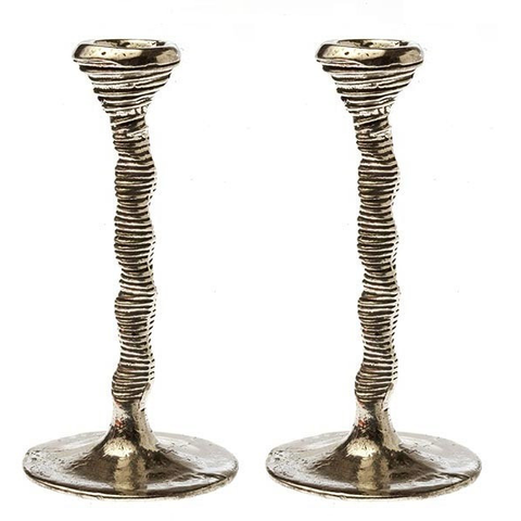 Pewter Spiral Candlesticks by Patrick Meyer - ModernTribe - 1