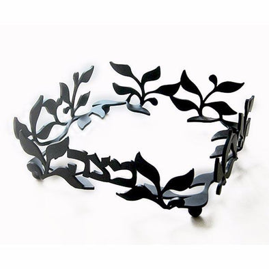 Laser Cut Vine Matzah Tray in Black