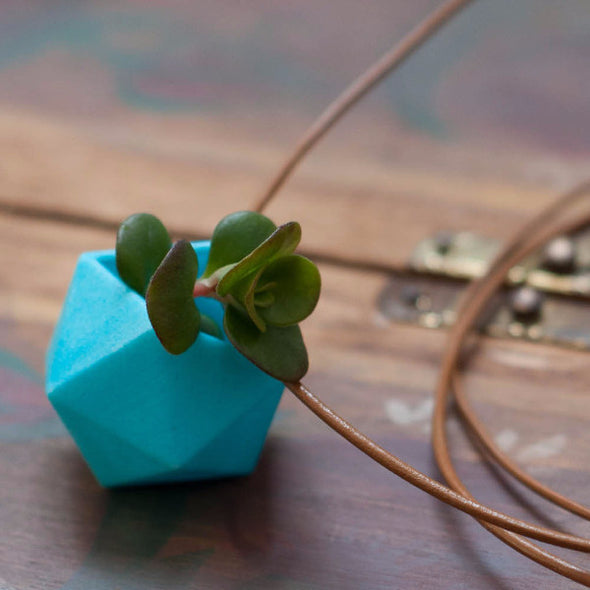 Icosahedron Necklace in Bright Blue - Wearable Planter - ModernTribe