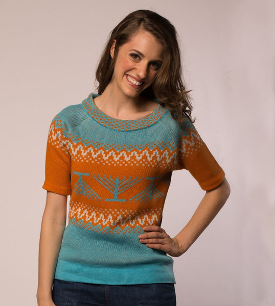 Geltfiend Sweaters Candleschtick Women's Pullover Hanukkah Sweater in Teal