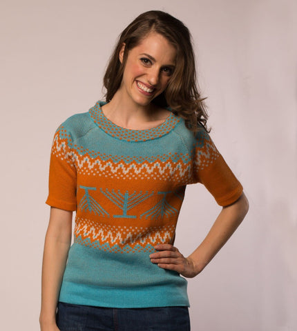 Candleschtick Women's Pullover Hanukkah Sweater in Teal by Geltfiend - ModernTribe - 1