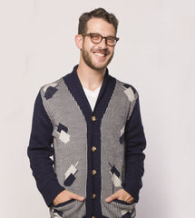 Dreidelstripe Men's Hanukkah Cardigan Sweater by Geltfiend - ModernTribe - 1