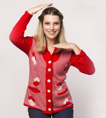 Dreidelstripe Women's Hanukkah Cardigan Sweater in Red by Geltfiend - ModernTribe - 1