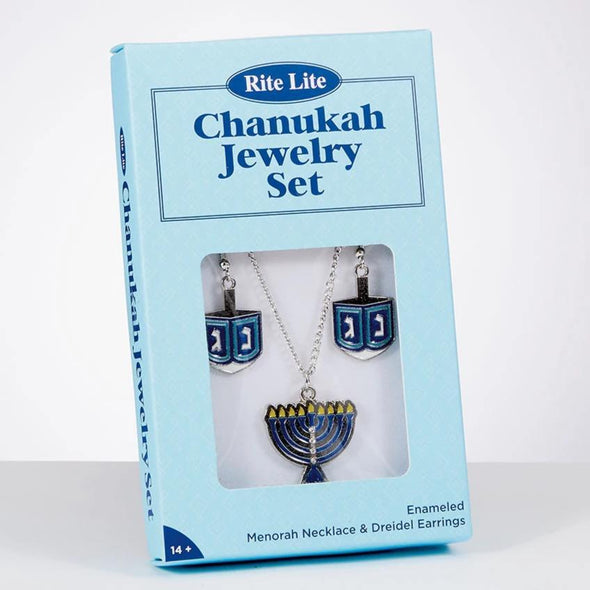 Dreidel Earrings and Necklace Set