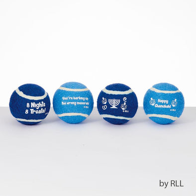 """Chewdaica"" Set of 4 Chanukah Dog Tennis Balls"