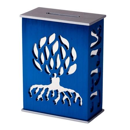 Agayof Tzedakah Box Tree of Life Tzedakah Box in Blue by Agayof