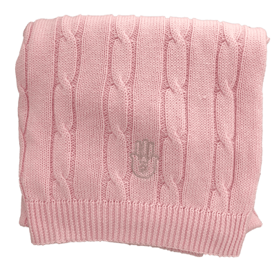 Romy + Rosie Blanket Pink Cable Hamsa Blanket - Blue or Pink